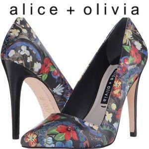 ALICE + OLIVIA leather floral pumps